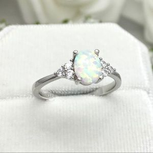 Oval White Opal Sterling Silver CZ Ring